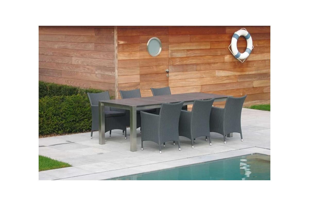 Table de jardin en verre la galerie du teck for Table exterieur granit