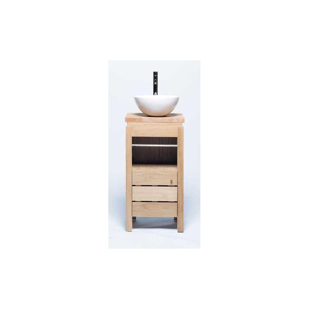 Meuble lave main en ch ne massif avec vasque line art la galerie du teck - Meuble vasque lave main ...