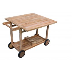desserte ou table roulante en teck pour repas sur la terrasse la galerie du teck. Black Bedroom Furniture Sets. Home Design Ideas