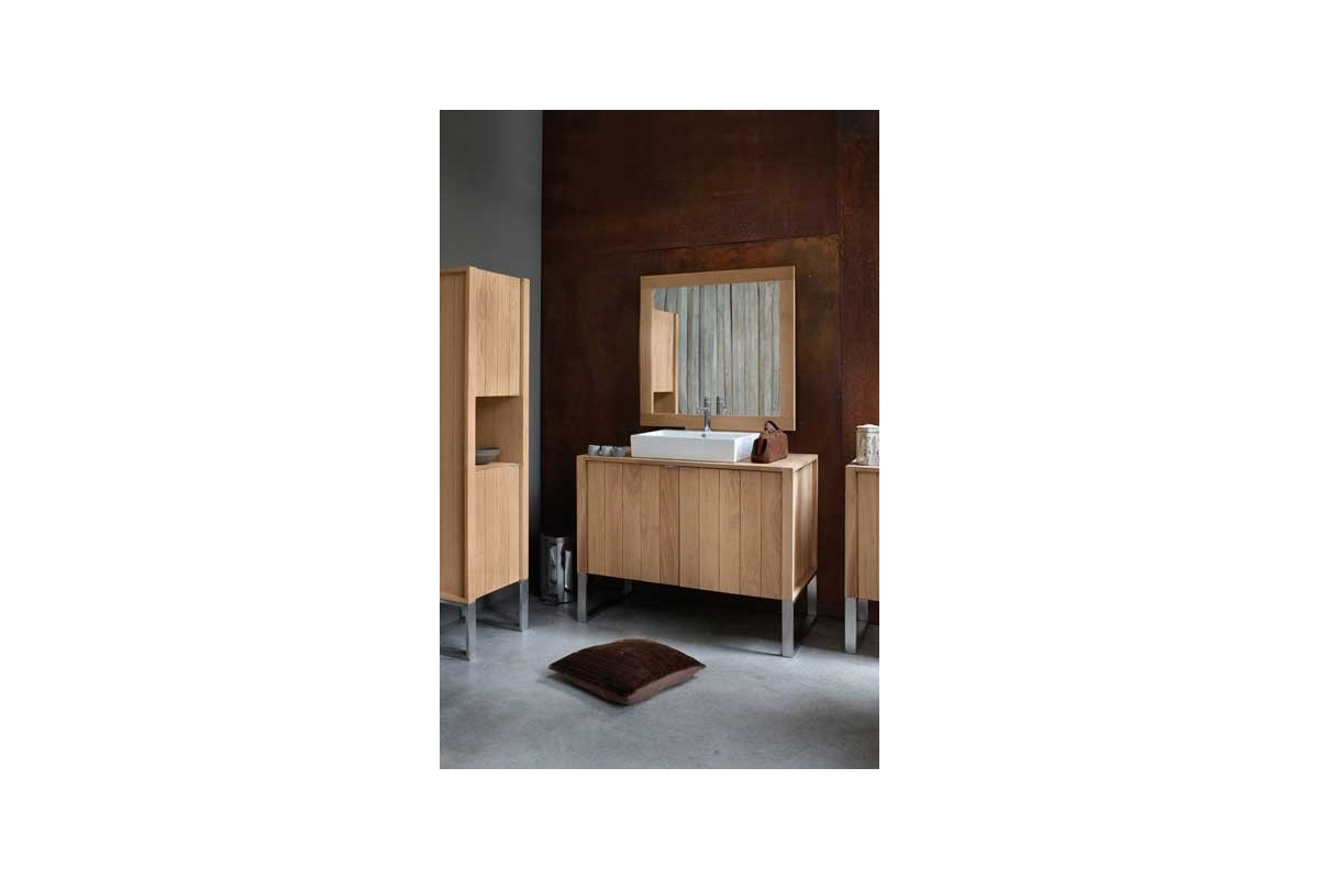 Meuble 2 vasques 3 portes ch ne massif 164 cm line art for Huiler un meuble