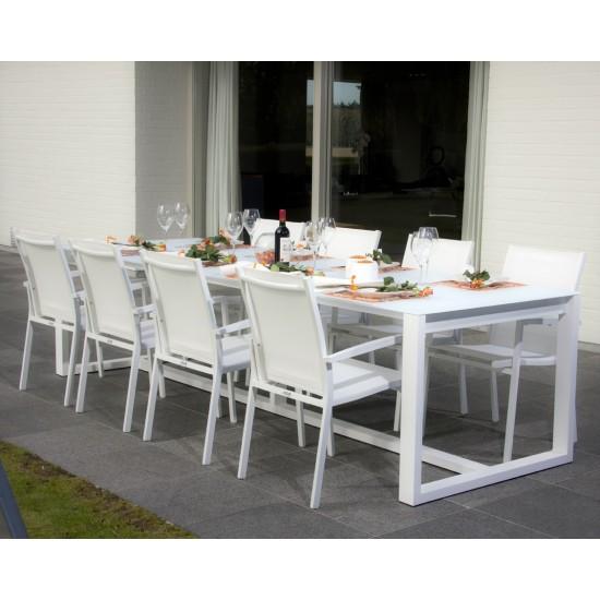 Table de jardin 300 cm en aluminium, plateau verre, Montella
