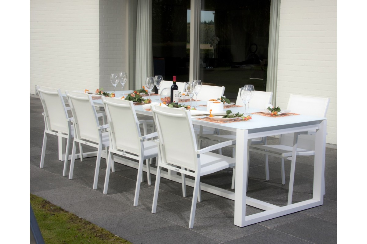 Beautiful table de jardin alu verre pictures awesome for Table 300 cm