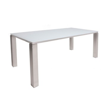 Table inox er verre blanc