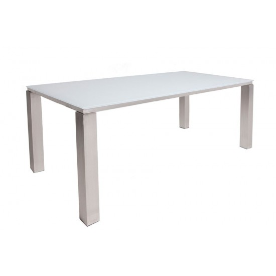 Table inox er verre blanc