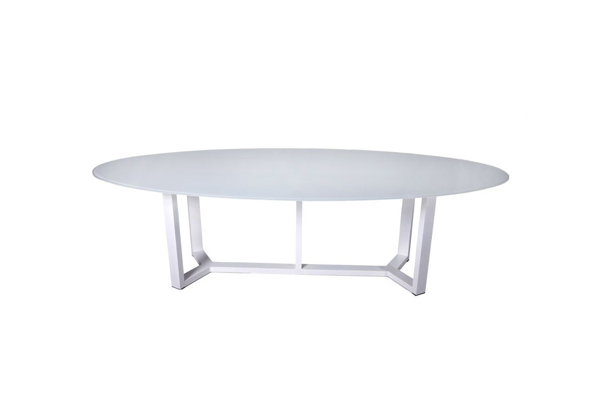 Table de jardin ovale design en aluminium plateau en - Table ovale en verre design ...