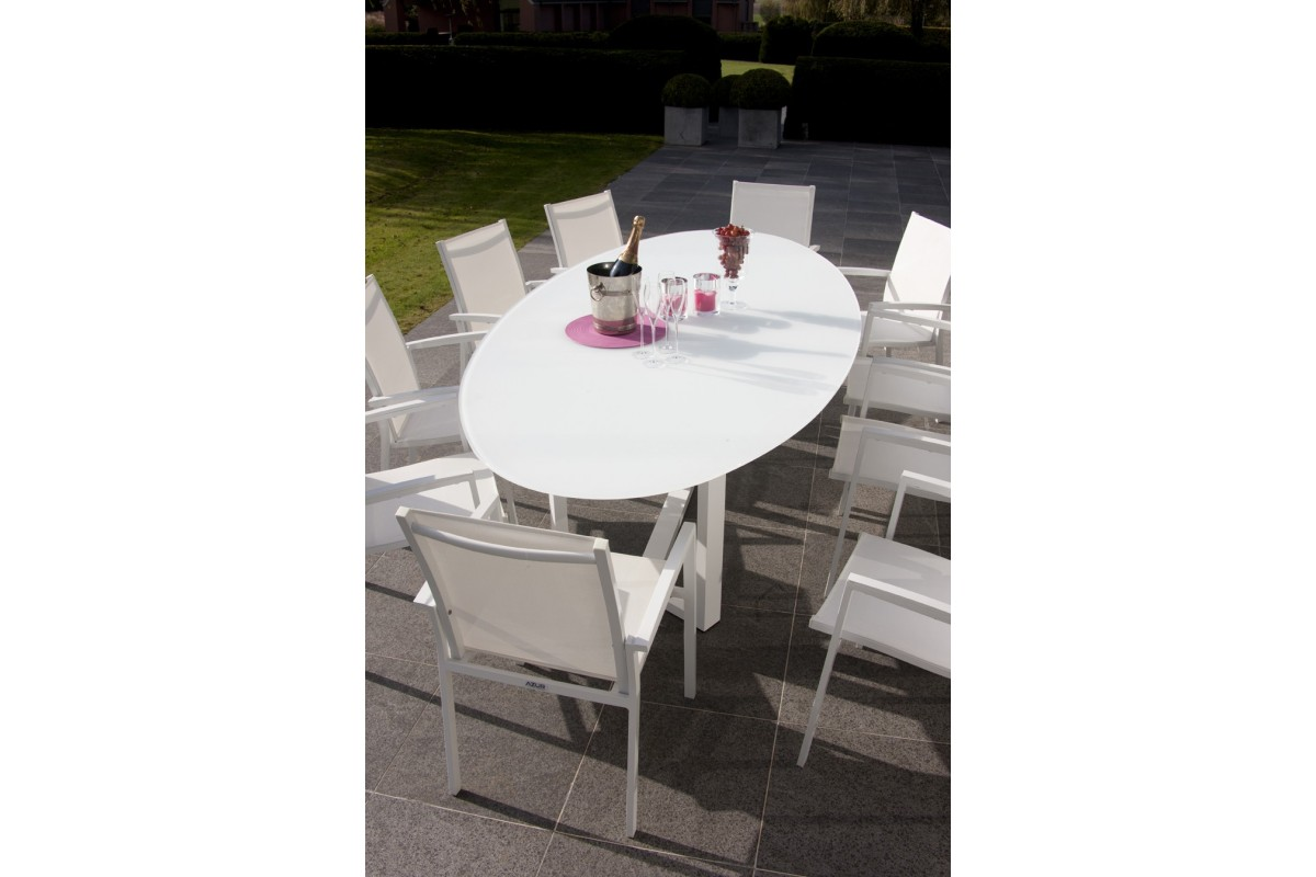 Emejing table jardin ovale aluminium pictures awesome interior home satellite for Grande table de jardin verre