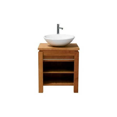 Meuble 1 vasque en teck massif avec tag re et barre inox line art la gale - Destockage meuble teck ...