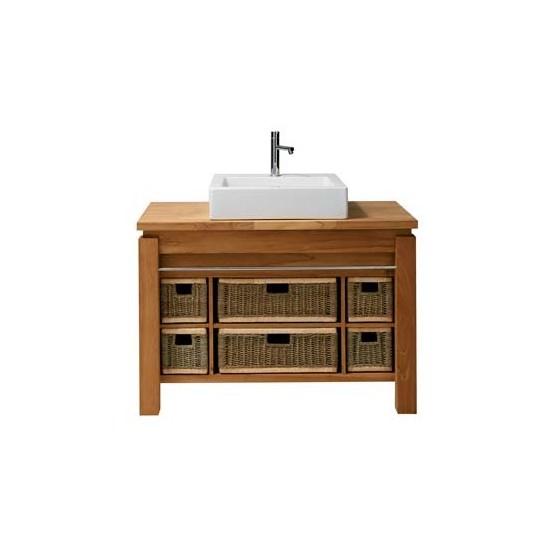 Meuble vasque teck massif 101 cm avec paniers, Line Art