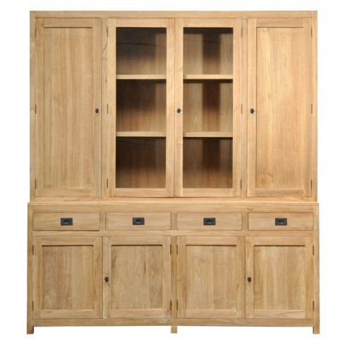 biblioth que en teck massif 200 cm 6 portes 2 tiroirs 2 portes vitr es exquise la galerie du. Black Bedroom Furniture Sets. Home Design Ideas
