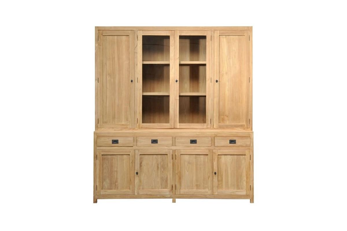 Biblioth que en teck massif 200 cm 6 portes 2 tiroirs 2 portes vitr es exqu - Bibliotheque en teck massif ...