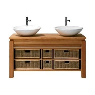 elément 2 vasques teck massif / paniers