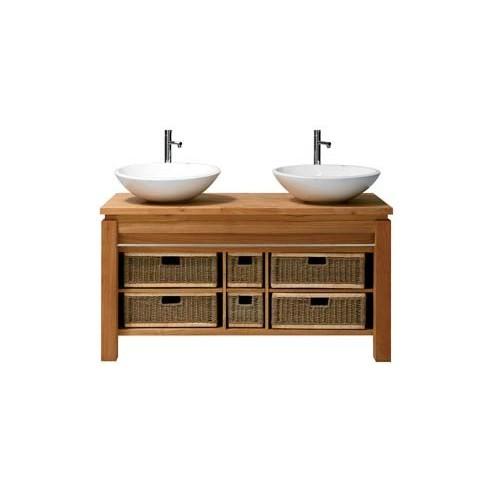 Meuble double vasque teck massif 133 cm avec paniers, Line Art Origin