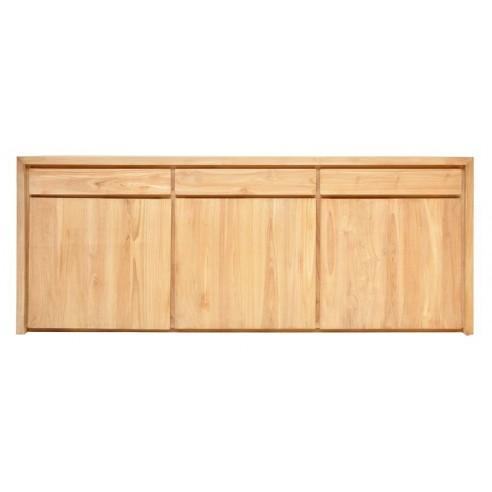 Buffet en teck massif 226 cm, 3 portes 3 tiroirs, Natura