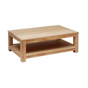 Table basse rectangulaire double plateaux en teck massif, Gamme Solo