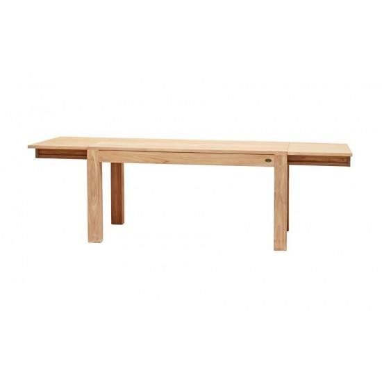 Table repas rectangulaire en teck massif à rallonges, Exquise