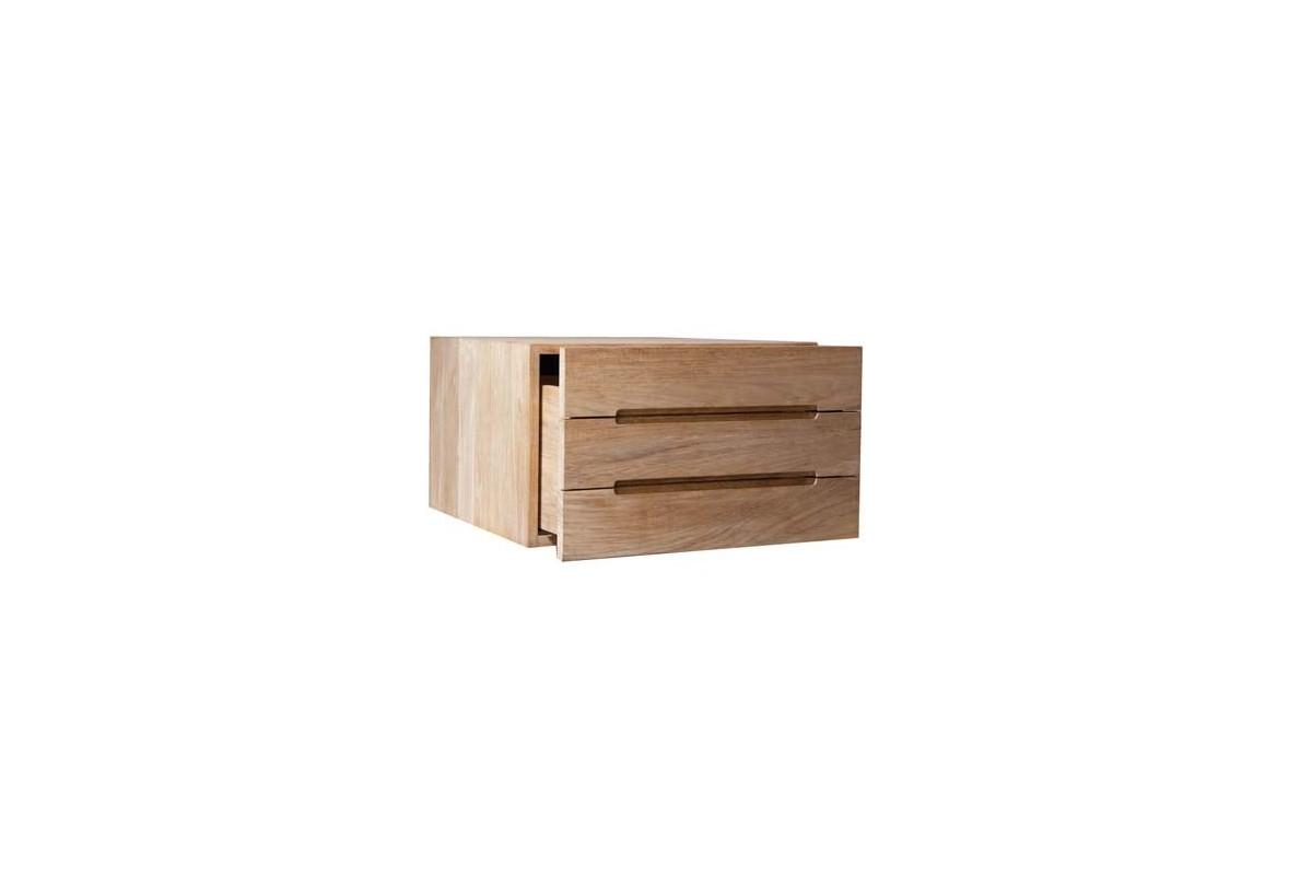 El ment de salle de bains avec tiroir en teck massif la - Cube de rangement salle de bain ...