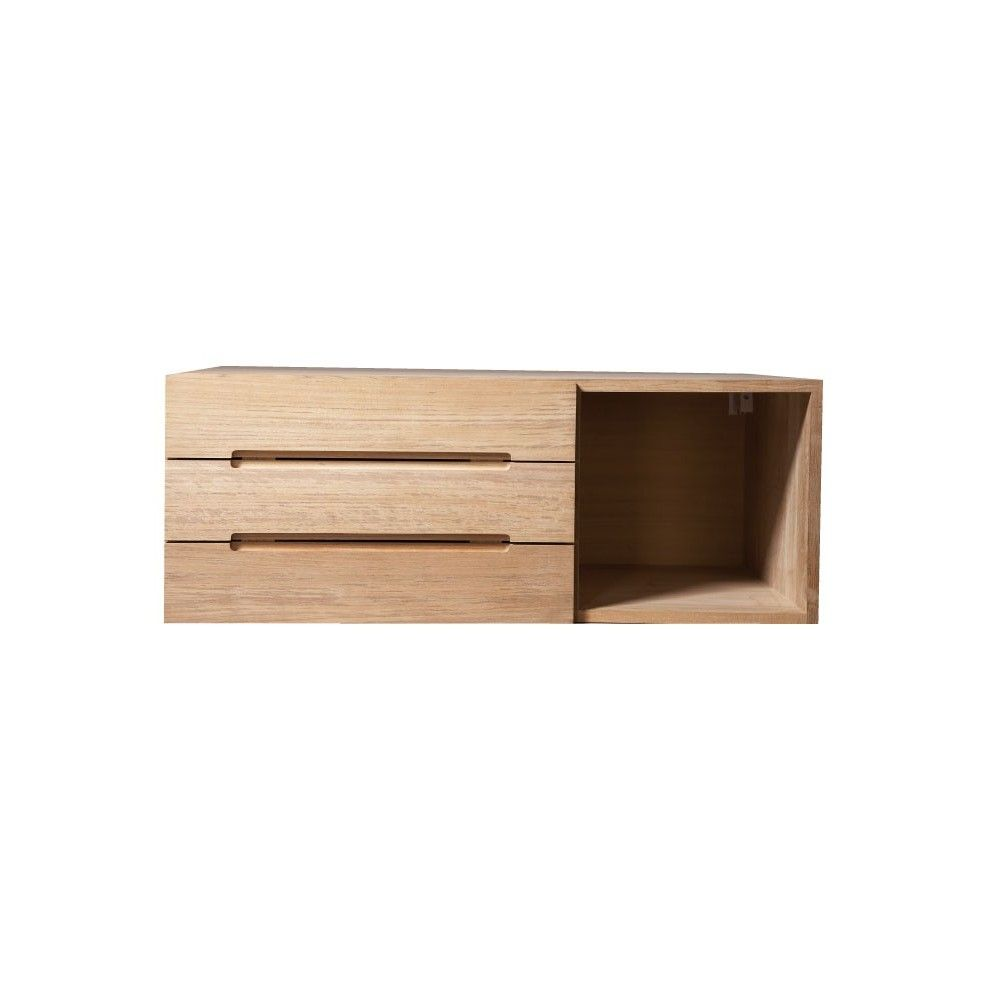 Meuble de rangement teck massif avec grande porte gauche for Meuble rangement porte