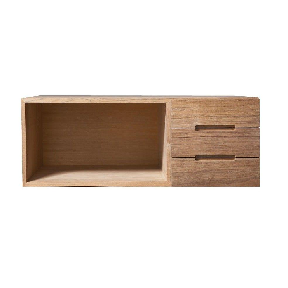 el ment de rangement teck massif avec porte droite la. Black Bedroom Furniture Sets. Home Design Ideas