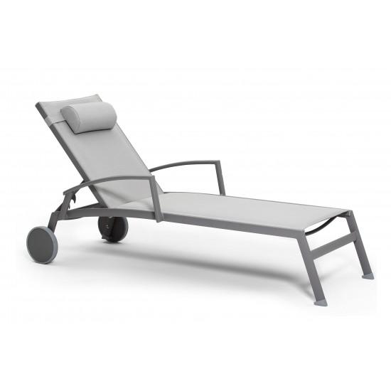 Lit bain de soleil en alu mat et textylène avec accoudoirs et repose-tête