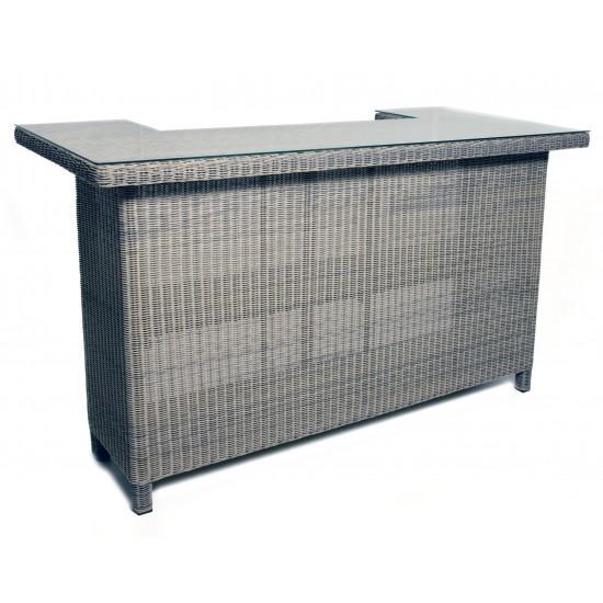 Table bar en résine tressée, plateau en verre L 190 cm H 111 cm