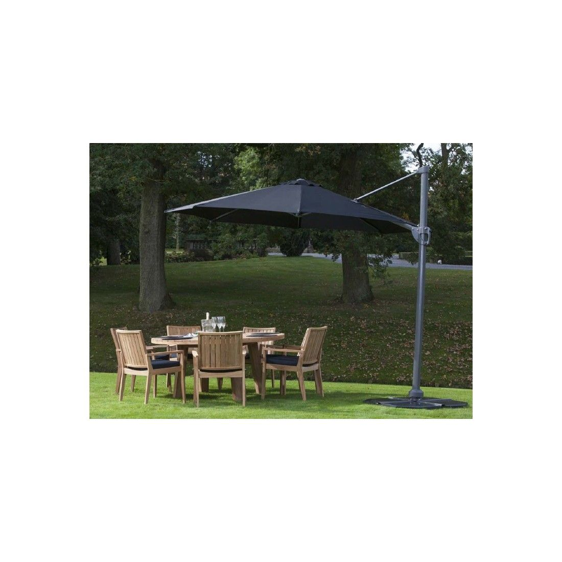 Parasol luxe déporté en alu diamètre 350 cm avec manivelle, Kansas