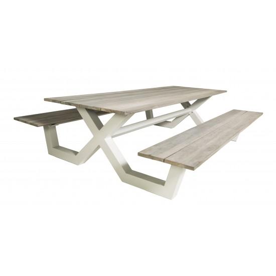 Table pique-nique avec bancs, en teck et pieds alu , modèle Bonucci