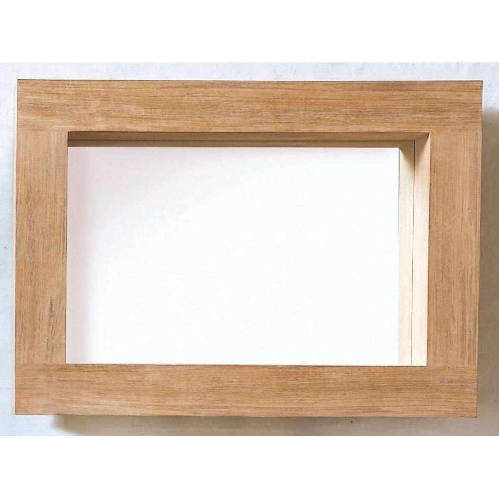 Miroir en teck pour la salle de bains avec encadrement - Miroir salle de bain en bois ...