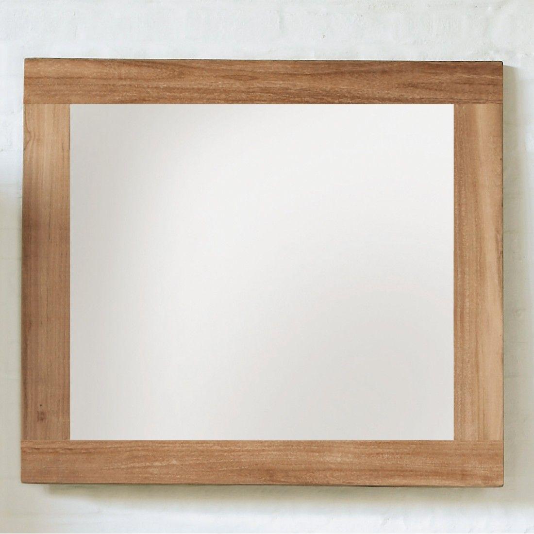 Miroir en teck massif huilé avec bords épais, Line Art
