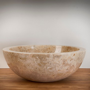 Vasque ronde en pierre marbrière ton crème