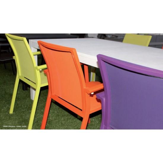 Chaise empilable en alu et textylène  , modèle Rimini