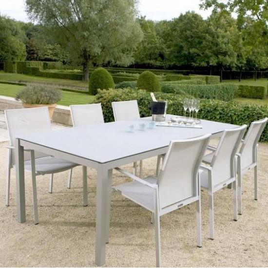 Table de jardin design 220 cm plateau verre et pieds alu, Grana