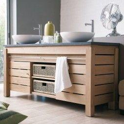 Meuble 2 vasques en teck massif 165 cm avec plan de toilette en pierre ou en teck, 2 portes, Origin by Line Art