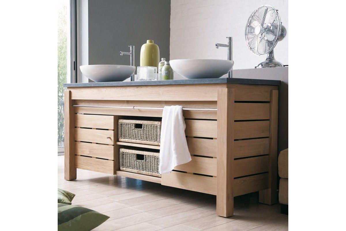 meuble 2 vasques en teck massif avec plan de toilette en. Black Bedroom Furniture Sets. Home Design Ideas