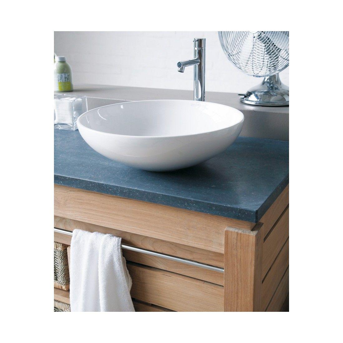 Meuble 2 vasques en teck massif avec plan de toilette en pierre, 2 portes, 2 paniers