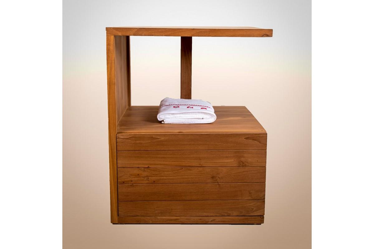 Meuble vasque en teck recycl avec une porte la galerie du teck - Destockage meuble teck ...