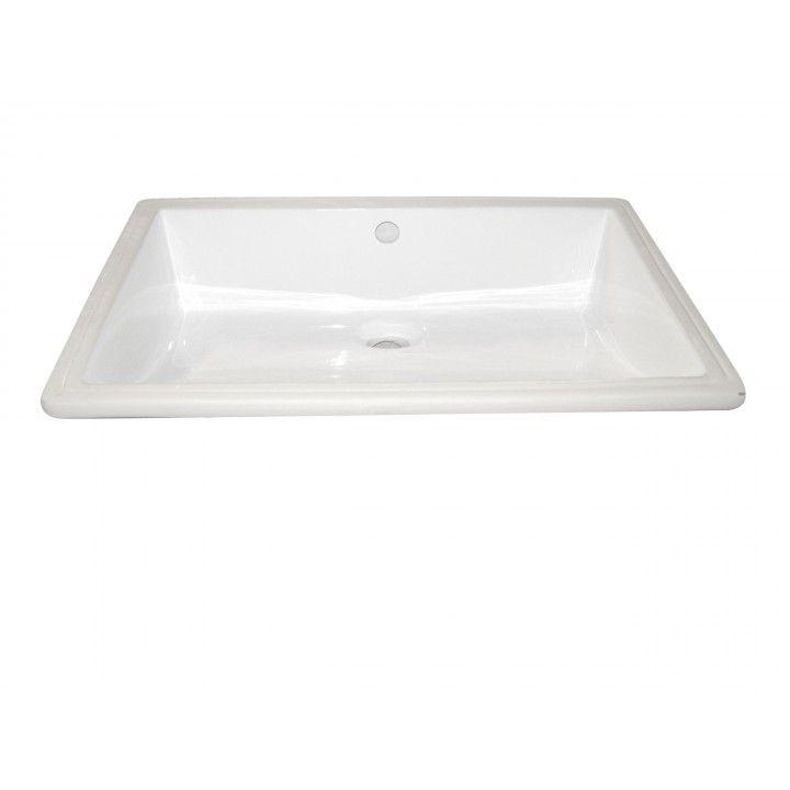 Vasque à encastrer blanche Sottopiano, format rectangulaire