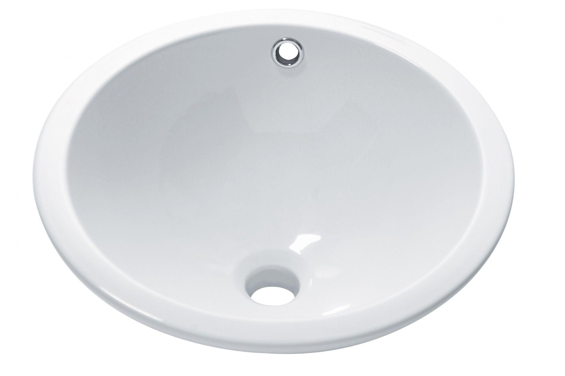 vasque ronde encastrer dessous blanche 42 cm sottopiano la galerie du teck. Black Bedroom Furniture Sets. Home Design Ideas