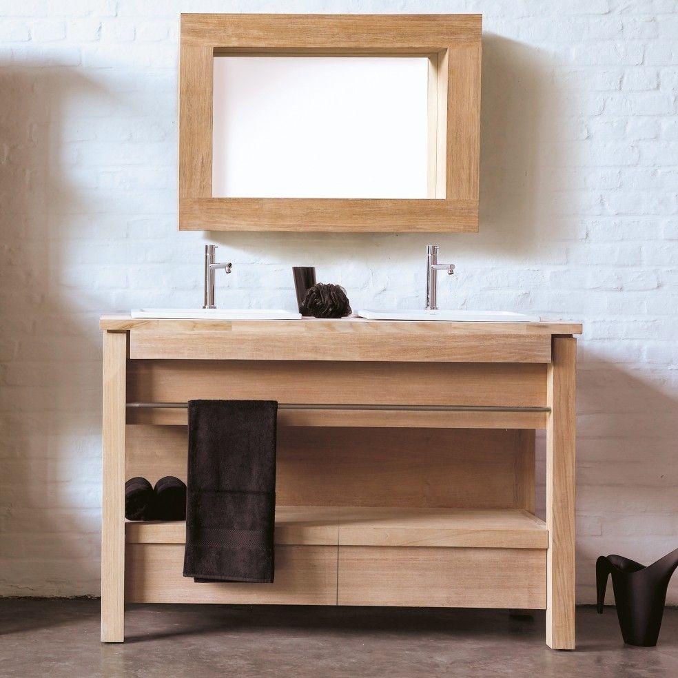 meuble en teck massif et pierre marbri re pour 2 vasques encastrer la galerie du teck. Black Bedroom Furniture Sets. Home Design Ideas