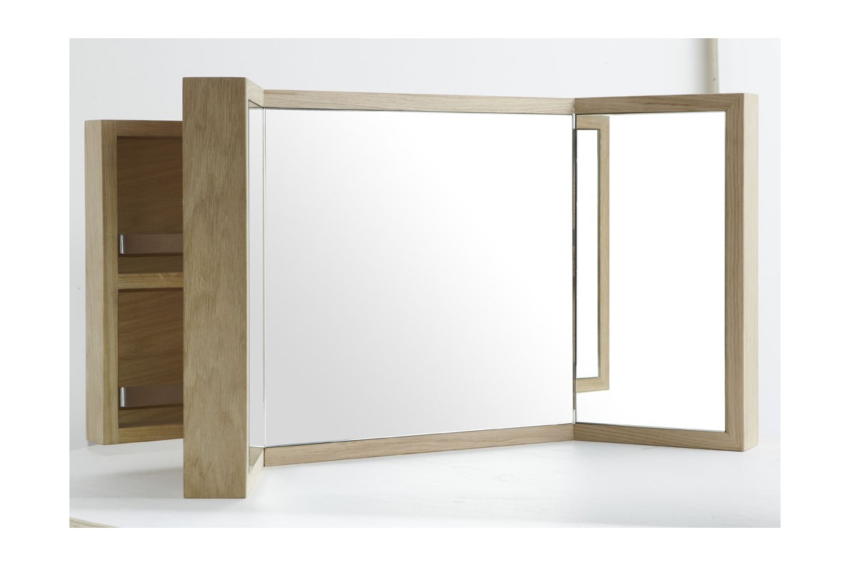 armoire de toilette tryptique en ch ne la galerie du teck. Black Bedroom Furniture Sets. Home Design Ideas