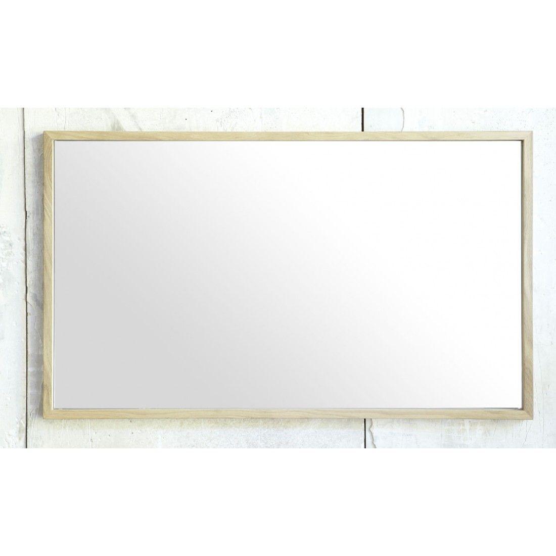 Miroir chêne massif avec des bords fins, Line Art