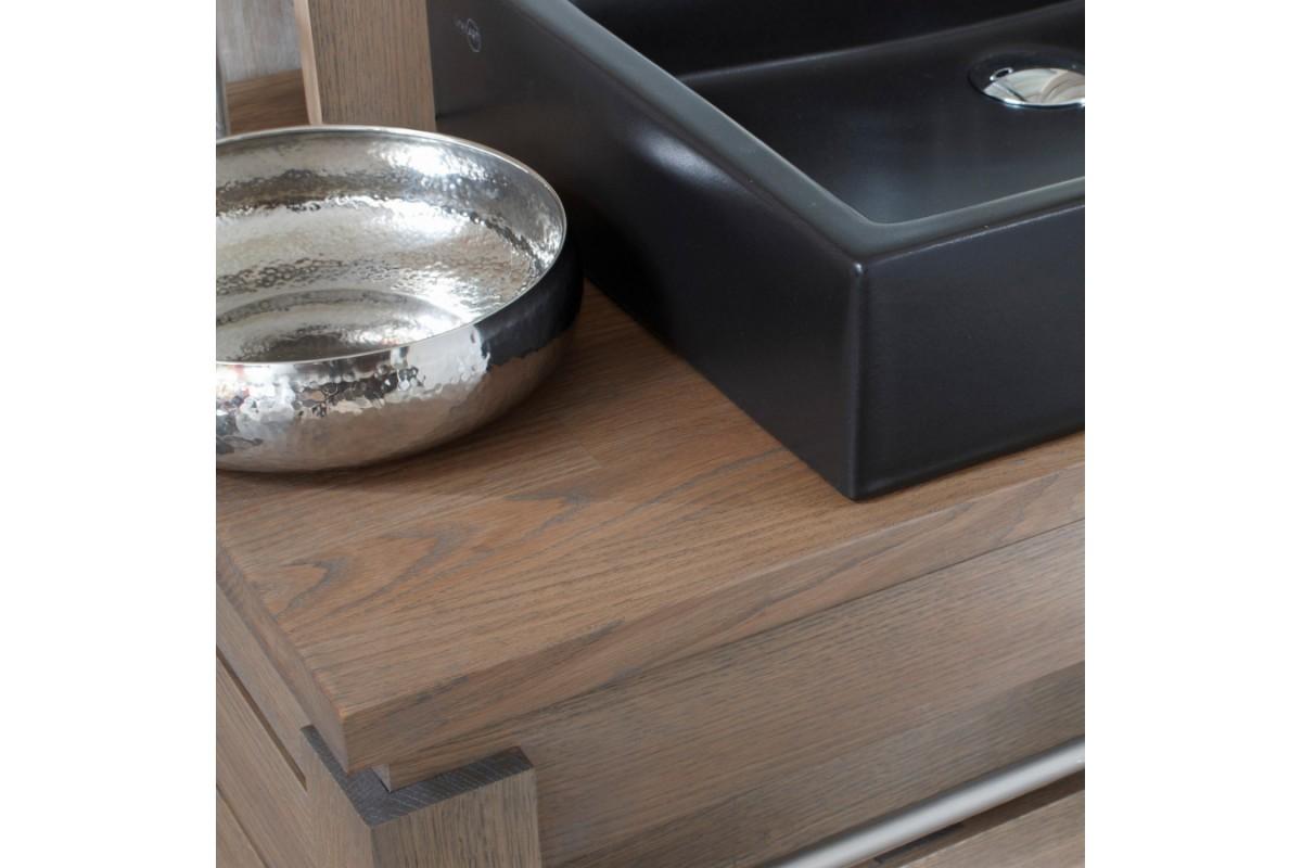 Meuble vasque en ch ne massif avec une tag re 65 cm la for Meuble une vasque