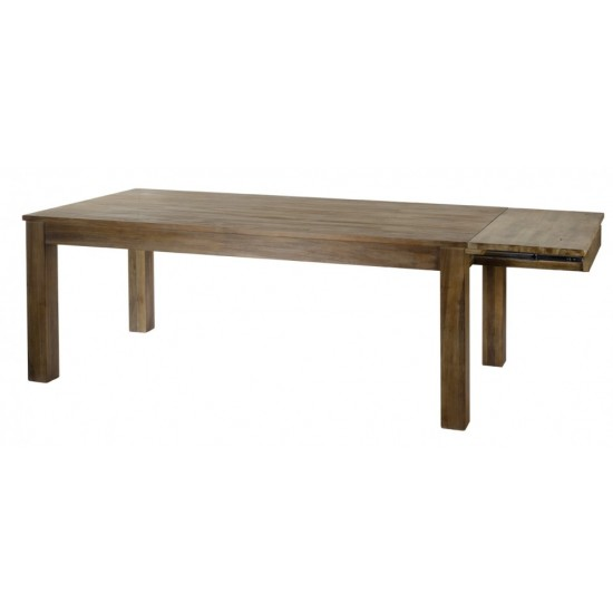 Table repas rectangulaire 160 cm / +50 cm en teck massif grisé foncé 1 rallonge