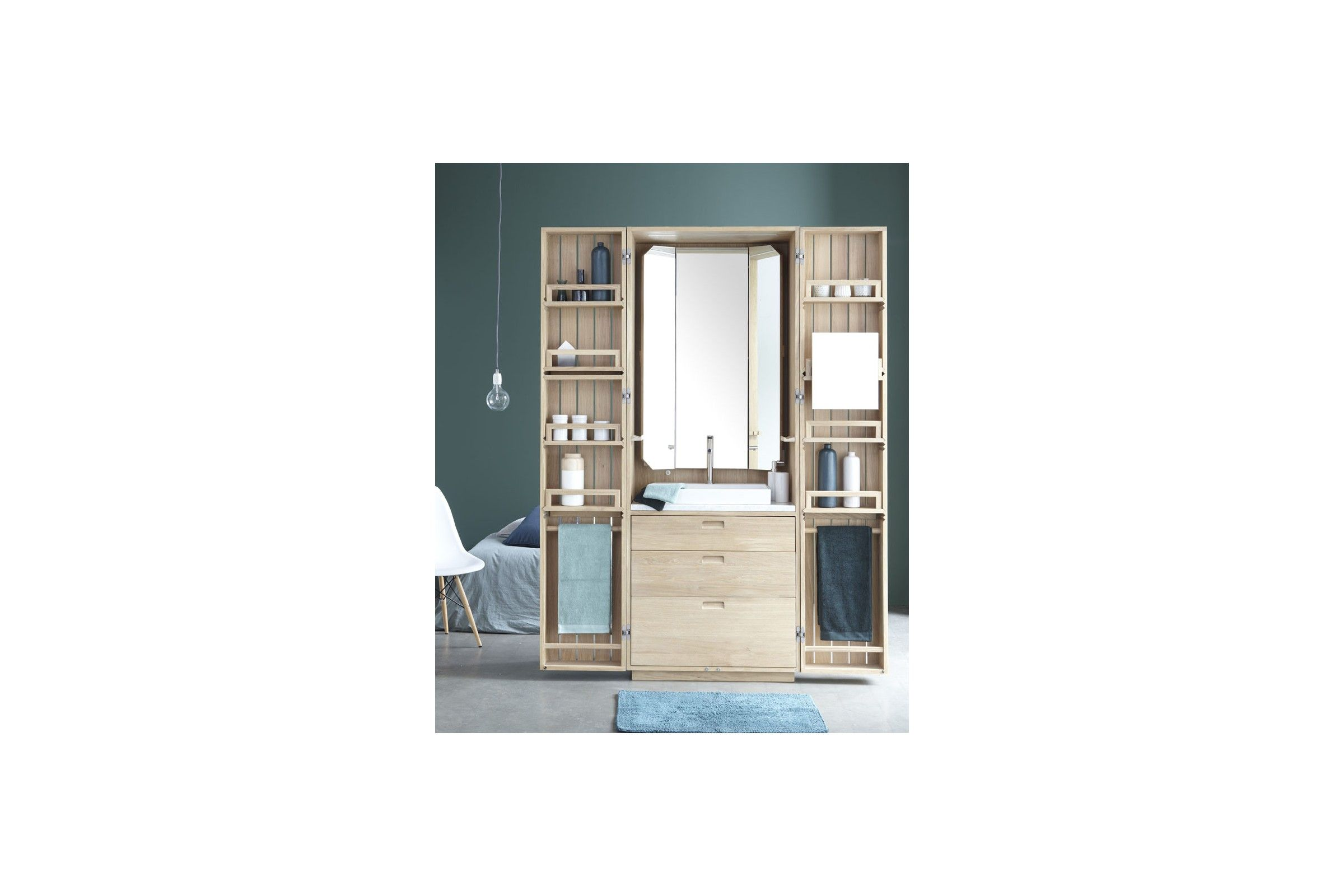 cabinet de toilette mural en ch ne la galerie du teck. Black Bedroom Furniture Sets. Home Design Ideas