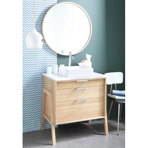 Meuble vasque en ch ne massif 80 cm style scandinave la for Meuble salle de bain cocktail scandinave
