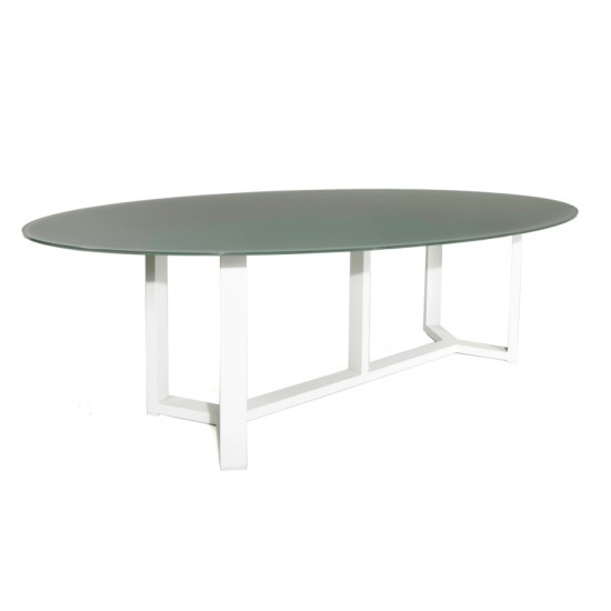 Table en aluminium blanc et verre gris clair