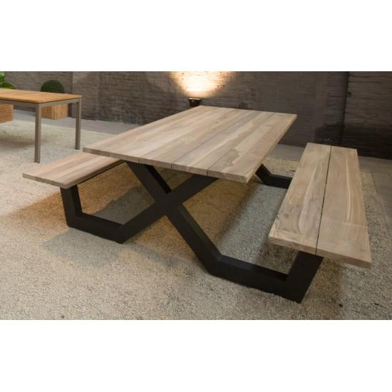 Table pique-nique avec bancs en teck massif et pieds en aluminium