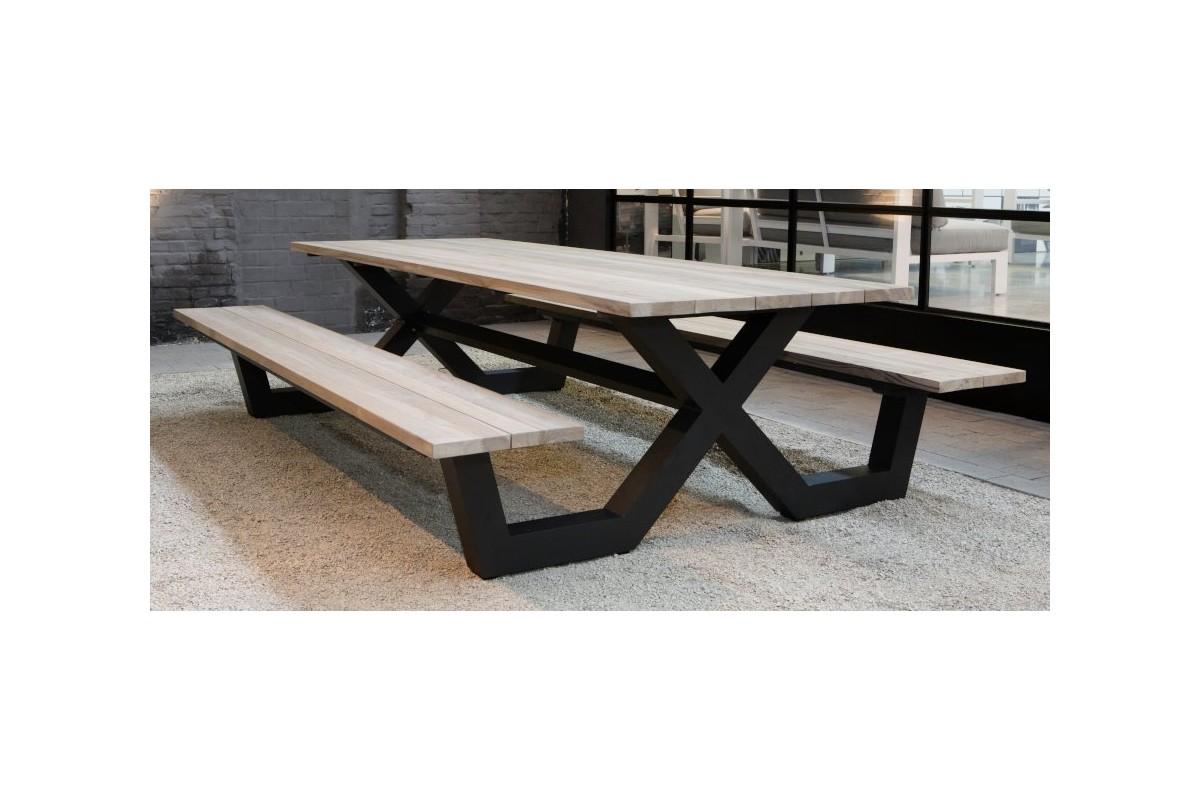 Table PiqueNique Avec Bancs En Teck Massif Et Pieds En Aluminium