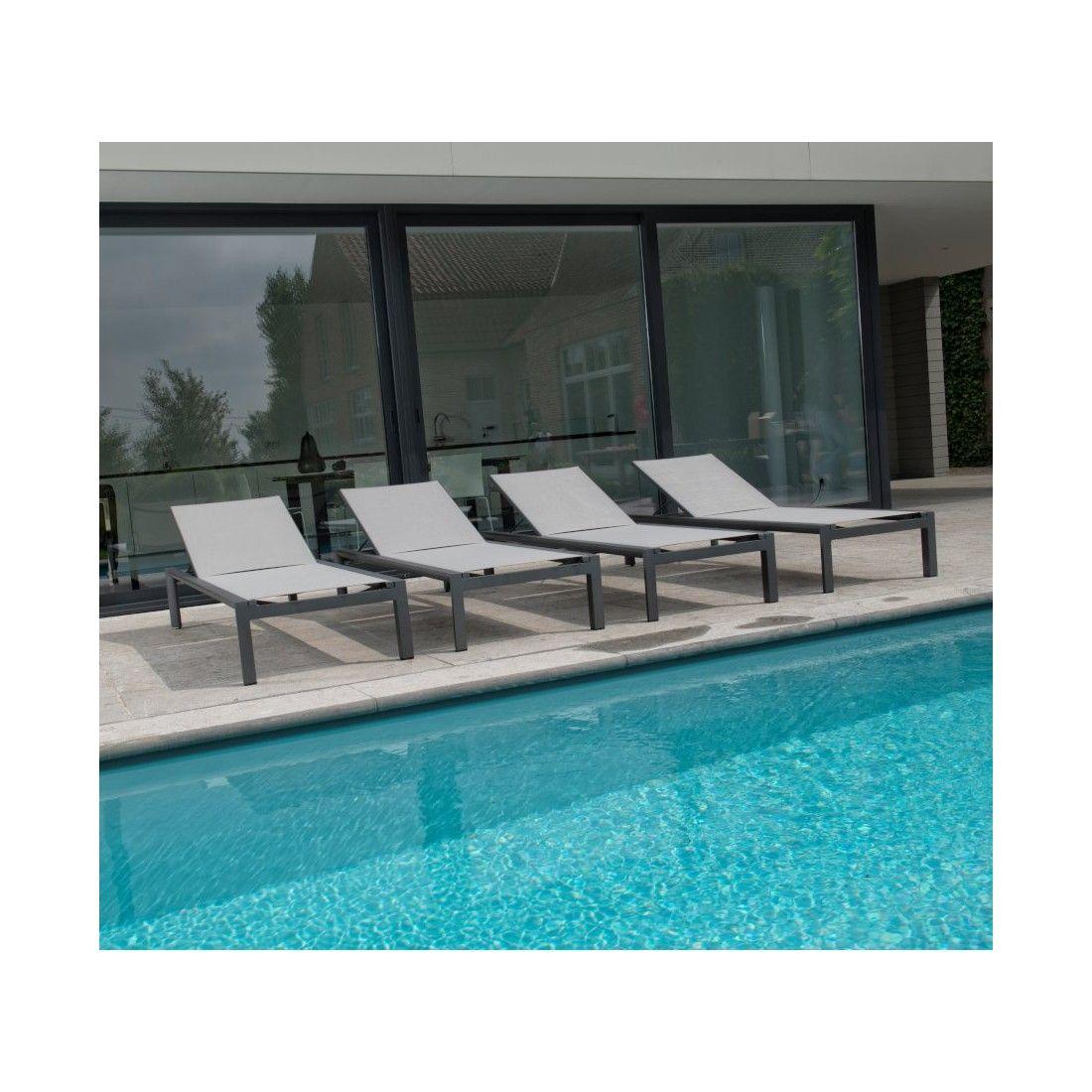 Lit bain de soleil textylène et aluminium, modèle Vittorio