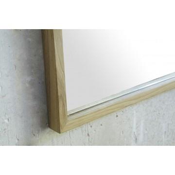 Miroir avec des bords fins en chêne massif naturel cérusé blanc 50 cm x 65 cm, Line Art