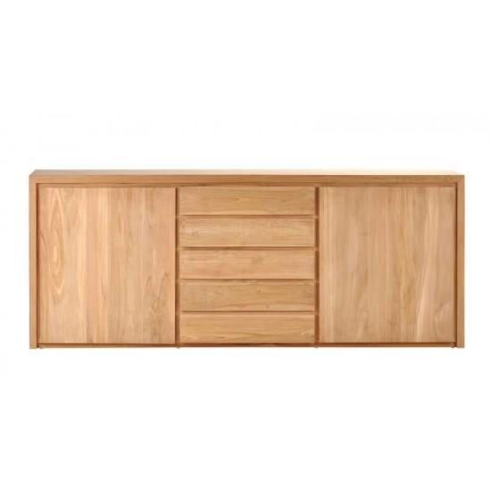 Buffet en teck massif 226 cm, 2 portes 5 tiroirs, Natura